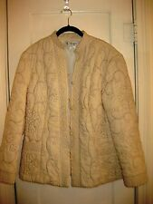 Etrangere 100% Silk Hong Kong Cream Colored Stitched Short Jacket Ladies Sz XL