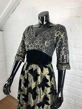 Amazing True Vintage 1960's Evening Gown Dress Lace Sequins Bows Party Christmas