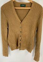 Lauren Ralph Lauren Womens Cardigan Sweater Tan Long Sleeve Cable Knit V Neck M