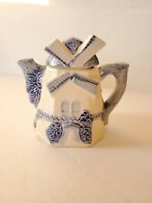 Vintage Blue and White Tea Pot Windmill Cream Pitcher, Made in Japan 5""