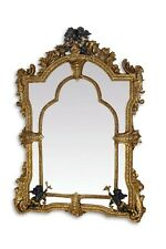 MIRROR CRYSTAL IN WOODEN ALABASTER FRAME GOLD WITH PUTS  #225AM53