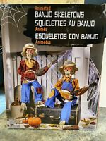 Animated Skeleton Light Eyes Prop Plays Dueling Banjo Talk Moves Halloween Music