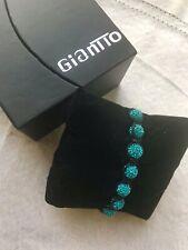 Giantto Turquoise Color Rhinestone Bracelet Sliding Adjustable