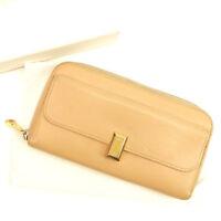 Chloe Wallet Purse Long Wallet Beige Woman Authentic Used T707