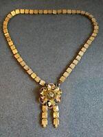 Antique Victorian Gold Filled Book Chain Pendant Necklace Bohemian Garnet