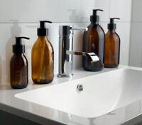 Amber Glass Homeware Pump Bottles, Various sizes, minimalist 100-500ML