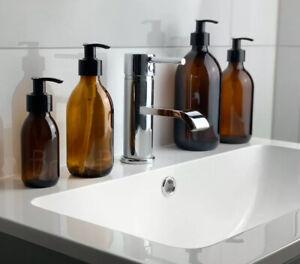 Amber Glass Homeware Soap Pump Dispenser Bottles Minimalist 100-500ML ECO