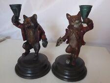 PR COLD PAINTED BRONZE FOX & BEAR CANDLESTICKS