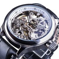 New Automatic Mechanical Men Watch Silver Skeleton Transparent Dial Leather Band