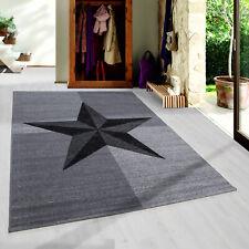 Jugendzimmer Teppich Stern Schwarz Grau Star Teppiche Heatset NEU