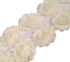 "1 yard ivory 2.5"" shabby chiffon rose trim flowers DIY baby headband"
