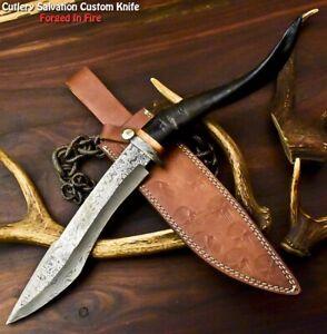 Rare!!! Custom Handmade Damascus Steel Blade Hunting Knife | Ram Horn