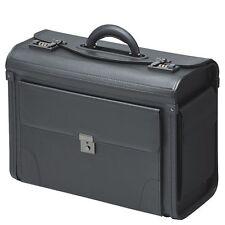 Pilotenkoffer Koffer Kunstleder Schwarz mit Vortasche 2 Seitentaschen