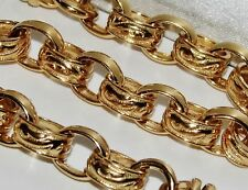 9CT YELLOW GOLD ON SILVER 26 INCH MEN'S SOLID BELCHER CHAIN - 81.4 grams