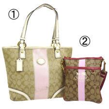 Auth COACH Signature Tote Bag Cross Body 2 Set Beige PVC Patent Leather V31201