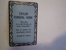 TAYLOR FUNERAL HOME 1 PLAYING CARD 2 of clubs,wisconsin rapids,mortuary,everett