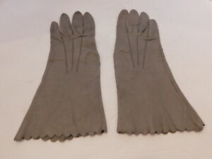DESIGNER LADIES GRAY LEATHER  DRESS GLOVES UNLINED SIZE 7