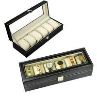 6 Grids Slots Leather Jewelry Watch Display Case Box Storage Holder Organizer
