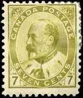 Canada #92 mint F OG HR 1903 King Edward VII 7c olive bistre CV$160.00