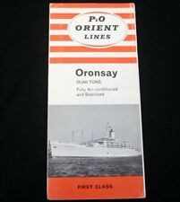 P & O LINE ORONSAY First Class Brochure 1960s