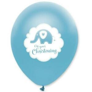 6 Azul Lindo Bautizo Elefante Helio / Aire Globos Látex Decoración