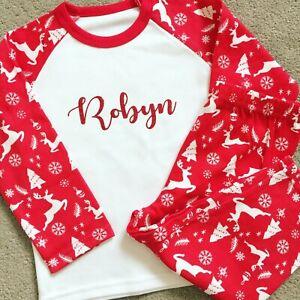 Personalised Christmas Reindeer Pyjamas - Baby's First Xmas Pj's - Cute Design!