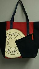 Tommy Hilfiger tote shopping bag donut logo red white & blue NEW Zip pockets