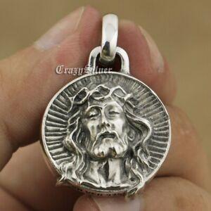 LINSION 925 Sterling Silver Jesus Christ Mens Biker Amulet Charm Pendant TA39B