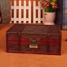 Decorative Trinket Jewelry Lock Chest Handmade Vintage Wooden Storage Box