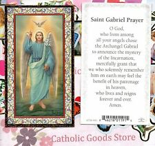Saint St. Gabriel the Archangel with Prayer - Gold Trim  Paperstock Holy Card