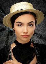 Victorian Lady Straw Boater Hat
