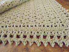 Handmade NEW Victorian Shells Crochet Afghan Tan/Beige Throw 54X68 inches