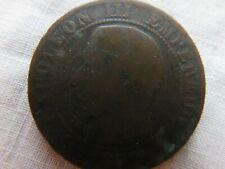 Antique Napoleon III cinq centimes bronze coin dated 1857.