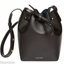 NWT Mansur Gavriel Mini Mini Bucket Leather Bag Black Blue