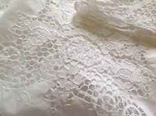 Vintage Mano Bordadas Algodón Blanco Costura Superior De Encaje Hoja 90x100 pulgadas