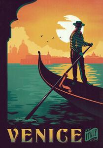 Retro Vintage Travel Poster * VENICE * LARGE A3 Size CANVAS ART PRINT