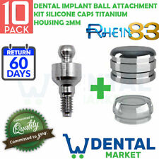 X 10 Dental Implant Ball Attachment Kit Silicone Caps titanium Housing 2mm