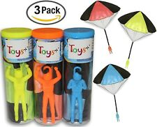 """3Pack Tangle Free Throwing Toy Parachute Man with Large 20"""" Parachutes! 4 Colors"""
