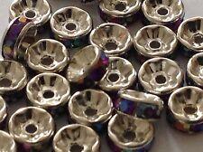 20 un. 8mm Plata Plateado Estrás AB De SP púrpura Rondelle espaciador perlas resultados