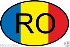 RO ROMANIA COUNTRY CODE OVAL WITH FLAG STICKER