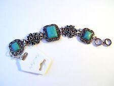 """Rectangle Turquoise Floral Antique Tone Bracelet , Adjustable  Clasp, 8.5"""""""