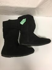 faded glory girls suede boots black size 4
