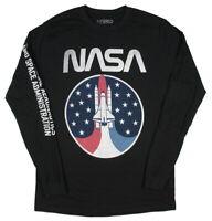 NASA Men's Vintage Distressed Space Shuttle Logo Long Sleeve Tee Shirt