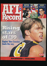 1999 AFL Football Record Richmond Tigers vs Geelong Cats June 18-20 unmarked