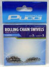 P-Line P3RC3-5 Pucci 3 Barrel Rolling Chain Fishing Swivels Package of 5 Size 3