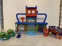 PJ Masks Headquarters Playset Cat-Car Gekko Deluxe Mobile Owl Glider Bundle