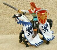 2006 Papo Schleich Medieval Fantasy Blue Dragon Knight Hero with Horse