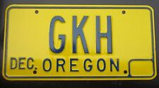 "OREGON VANITY LICENSE PLATE "" GKH "" GEORGE GREG GLEN HENRY HOWARD HILL HARRIS"