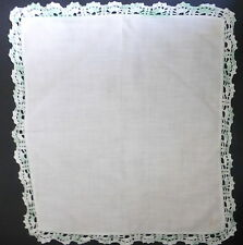 Vintage Handkerchief Hanky Cream with Green Crocheted Edges/Trim