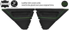 GREEN STITCH 2X REAR DOOR CARD LEATHER COVERS FOR RENAULT 5 CAMPUS 3 DOOR